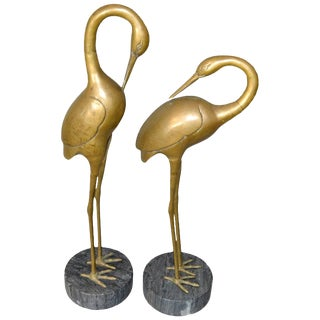 Hollywood Regency Asian Style Bronze Crane Sculptures Gray Marble Base - a Pair For Sale
