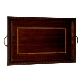 Early 20th Century English Walnut Serving Tray W/ Beautiful Inlay C.1910 For Sale