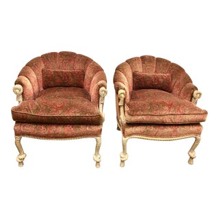 Vintage Napoleon III Style Twisted Rope and Tassel Carved Armchairs For Sale