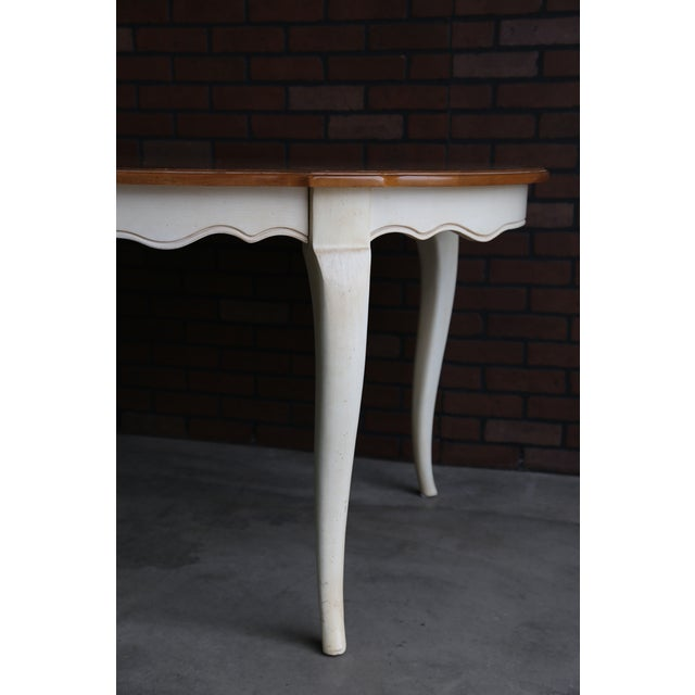 French Provincial French Country Ethan Allen Oval Extension Dining Table For Sale - Image 3 of 8