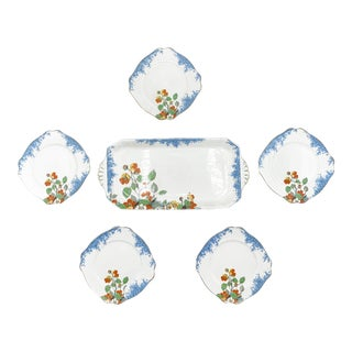 Art Deco Royal Staffordshire Pottery Wilkinson Ltd Floral Dinnerware - 6 Pieces For Sale