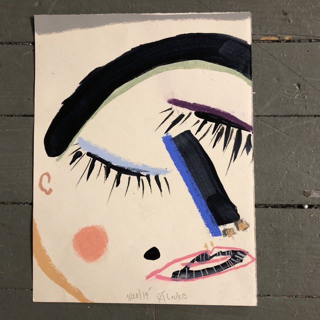 2010s Original Contemporary Robert Cooke Abstract Face Painting For Sale - Image 5 of 5