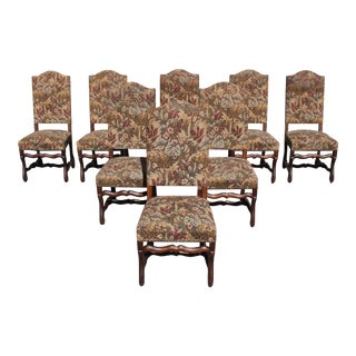 1900s Vintage French Louis XIII Style Os De Mouton Dining Chairs- Set of 8 For Sale