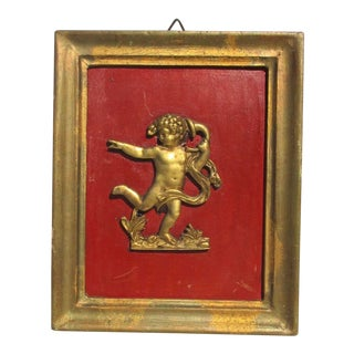 19th Century Framed Gilt Bronze Putti Plaque For Sale
