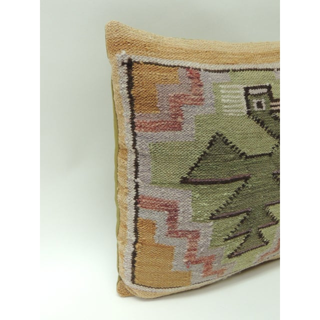 Peruvian woven tribal pillow, depicting birds and traditional tribal pattern. Vintage accent pillow in shades of green,...