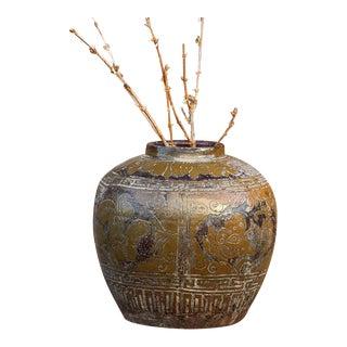 Antique Hand Carved Martaban Jar For Sale