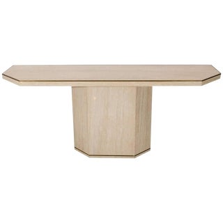 1970s Minimalist Travertine Console Table With Brass Edging For Sale