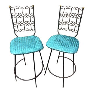 Salterini Wrought Iron & Sequin Seat Swivel Stools - A Pair