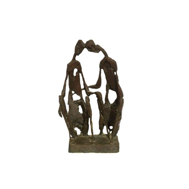 "Mid-Century Modern Brutalist ""The Lovers"" Bronze Sculpture For Sale"