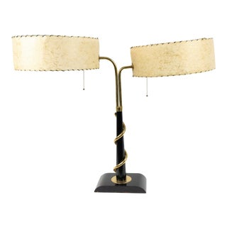 American Mid-century Parchment and Brass Student Lamp For Sale