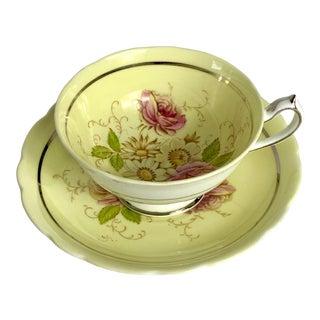 Vintage Paragon Double Warrant Lemon Yellow Floral Bouquet Tea Cup and Saucer For Sale
