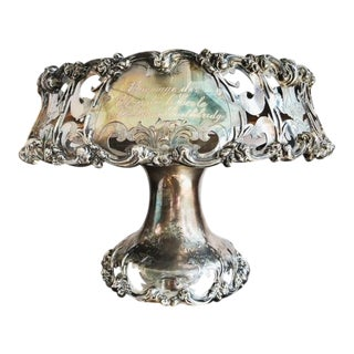 1909 Antique Victorian Era Silver Plated Fruit Bowl