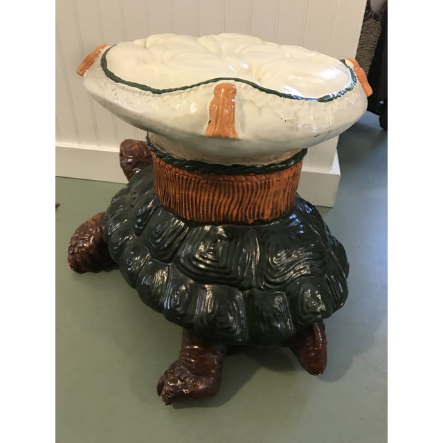 Green Vintage Turtle Garden Seat Stool For Sale - Image 8 of 10