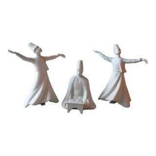 Vintage Surfi Turkish Yildiz Porcelain Whirling Dervish Reader Figurines - Set of 3 For Sale