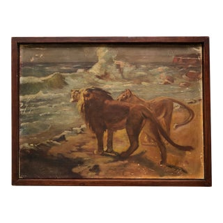 1930's Realist Lions by the Sea Oil Painting For Sale