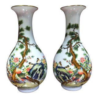 Mid 18th Century Antique Chinese Qing Dynasty Yongzheng Marked Hand Painted Colour Enamels Falangcai Porcelain Vases - a Pair For Sale