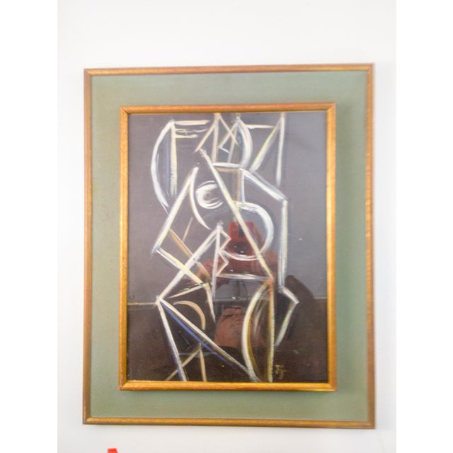 Wood Cubist Nude Female Painting on Paper For Sale - Image 7 of 7
