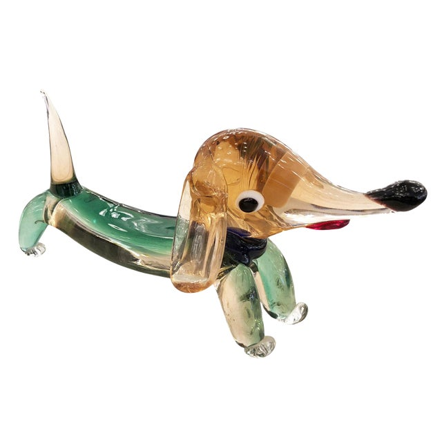 Murano Glass Dachshund Dog Sculpture For Sale