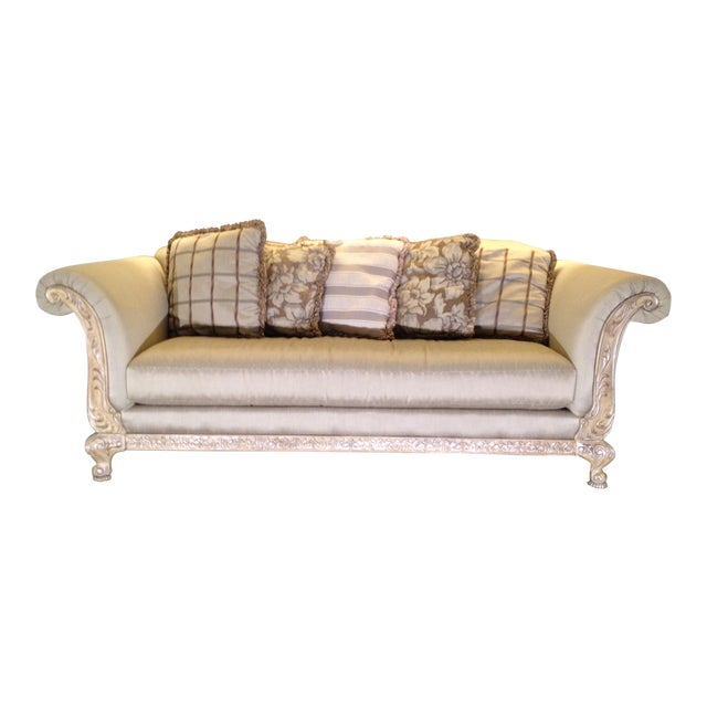 Gold Detail Sofa & Accent Pillows For Sale