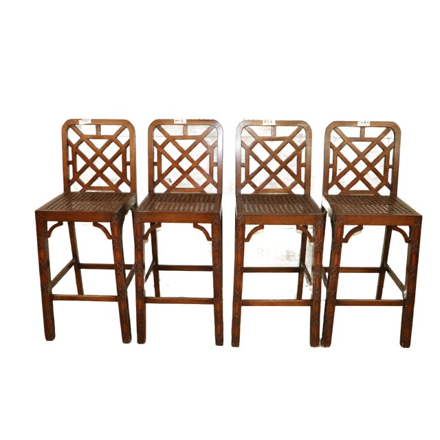 Wood Late 20th Century Chinese Chippendale Fretwork Bar Stools- Set of 4 For Sale - Image 7 of 7