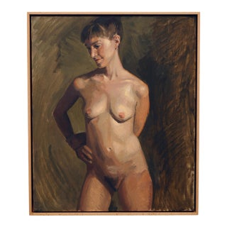 """""""Robyn"""" Contemporary Figurative Female Nude Oil Painting, Framed For Sale"""