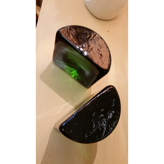 Blenko Blenko Art Glass Forest Green Bookends - A Pair For Sale - Image 4 of 7