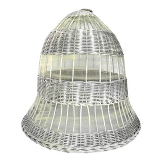 Antique Weathered Silver Wicker Bell For Sale
