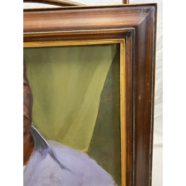 Vintage Oil on Canvas Portrait of an African American Man Framed Painting For Sale - Image 4 of 8