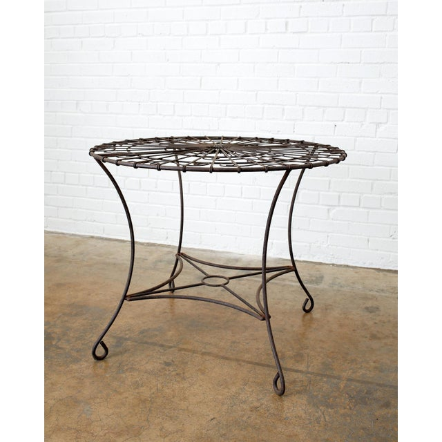 French Art Nouveau Iron And Wire Garden Table | Chairish