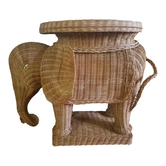 1974 Boho Chic Thailand Natural Wicker Elephant Table For Sale