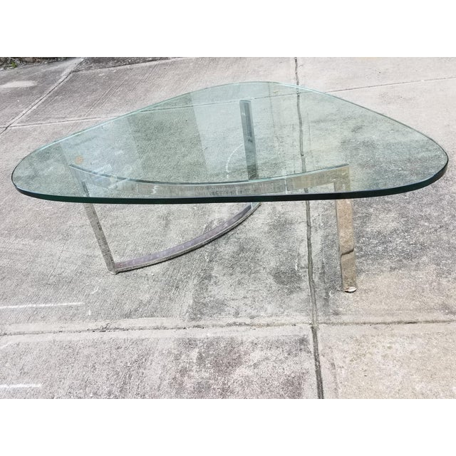 Mid-Century Modern Italian Glass & Chrome Boomerang Style Coffee Table - Image 3 of 10