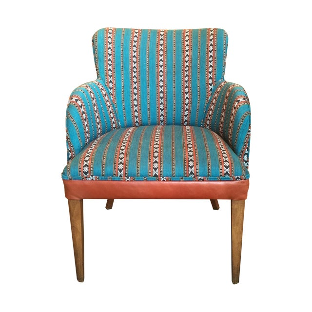 Newly Upholstered Vintage Chair in Leather - Image 1 of 5