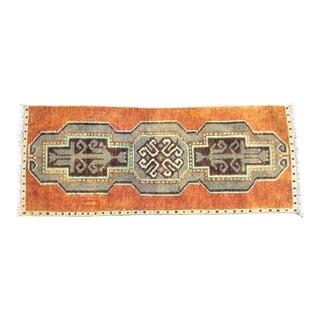 Aztec Turkish Handmade Orange and Gray Decorative Rug For Sale