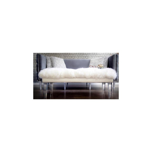 Sheepskin Lucite Bench - Image 4 of 4