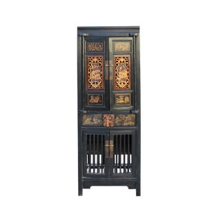 Chinese Black Golden Carving Narrow Wood Storage Wardrobe Hutch Cabinet For Sale