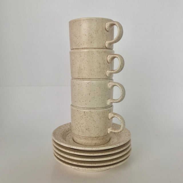 Homer Laughlin Mid-Century Modern Coffee Cups & Plates - Set of 4 - Image 2 of 6