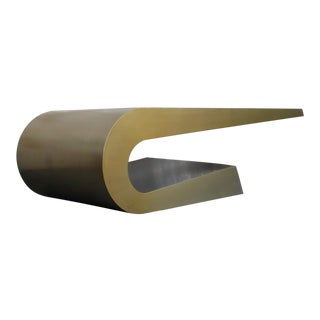 Brass Swoop Coffee Table For Sale