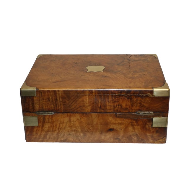 Mid 19th Century Burl Walnut Box With Brass Accents. English 19th Century For Sale - Image 5 of 6