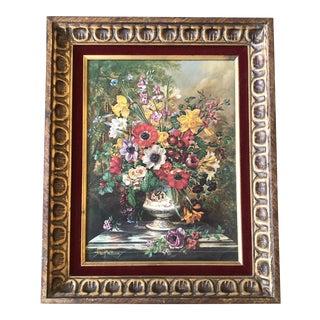 Original Vintage Floral Still Life Print Vintage Original Ornate Frame Red Velvet Liner For Sale