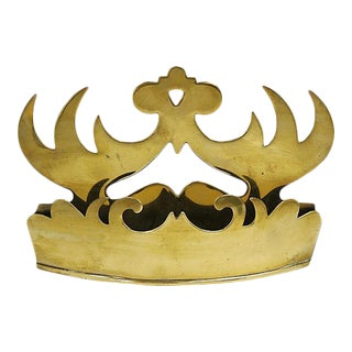 Antique English Brass Crown Wall Pocket For Sale
