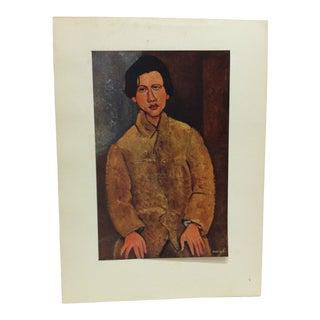 "1947 Vintage ""Portrait De Soutine"" Modigliani French Mounted Color Print For Sale"