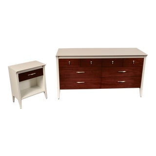 Lacquered Low Dresser and Nightstand by Drexel For Sale