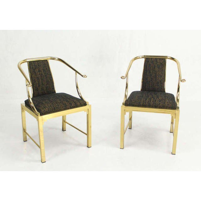 Mid-Century Modern Pair of Brass Barrel Back Chairs by Mastercraft For Sale - Image 10 of 10
