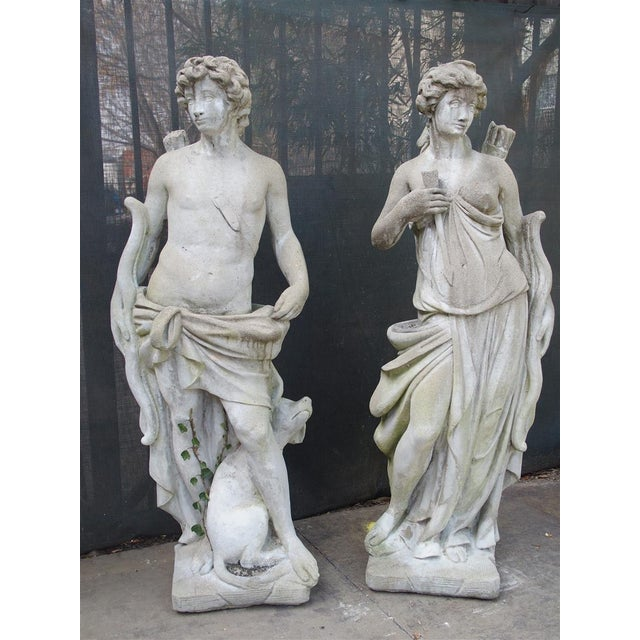 Pair of 20th Century French Statues Representing Apollo and Diana For Sale - Image 13 of 13
