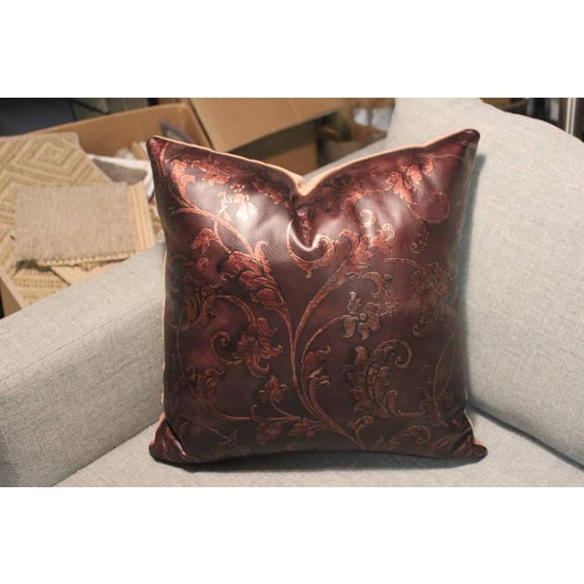Hand Tooled Brown Leather Pillow - Image 3 of 5