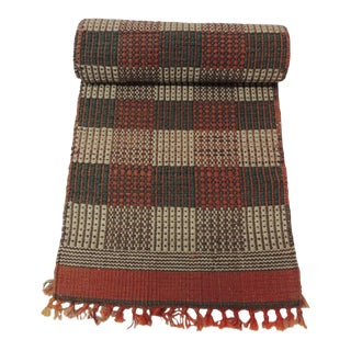 Orange and Green Woven Table Runner For Sale