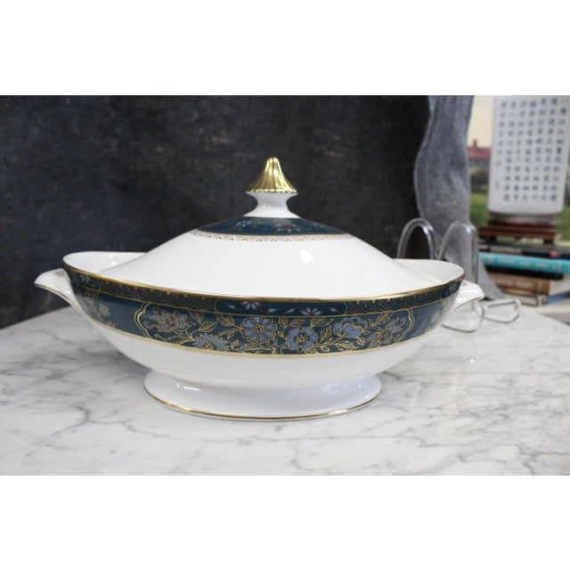 Mid 20th Century Royal Doulton Gold and Turquoise Accent Tureen For Sale - Image 11 of 11