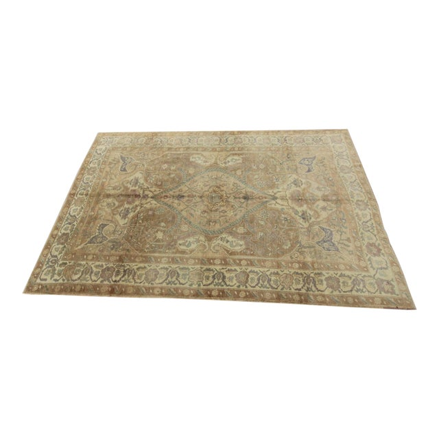 Vintage Turkish Oushak Hand Knotted Rug - 5'11 x 8'7 For Sale