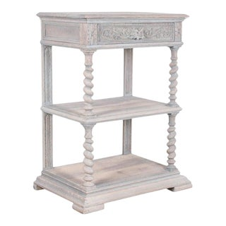 Antique Belgian Whitewashed Console Table For Sale