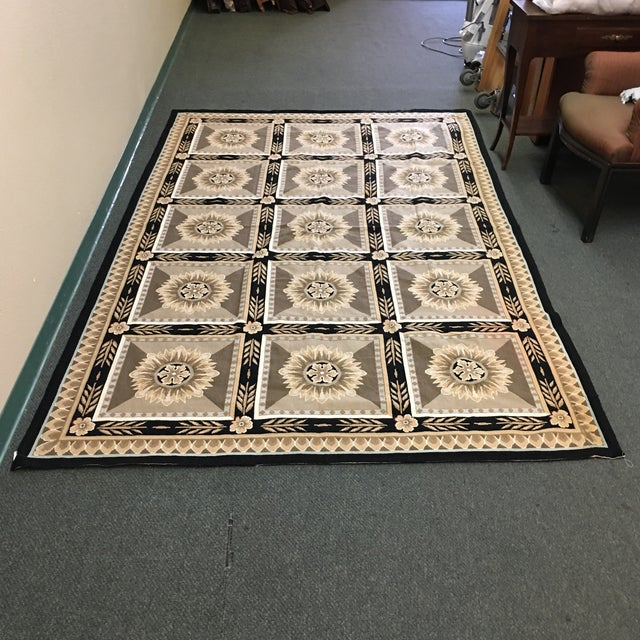 French Hand Woven Aubusson Needlepoint Area Rug - 5′5″ × 9′8″ - Image 2 of 11